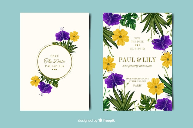 Elegant floral wedding invitation card Free Vector
