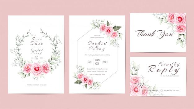 Elegant floral wedding invitation template set with peonies flowers Premium Vector