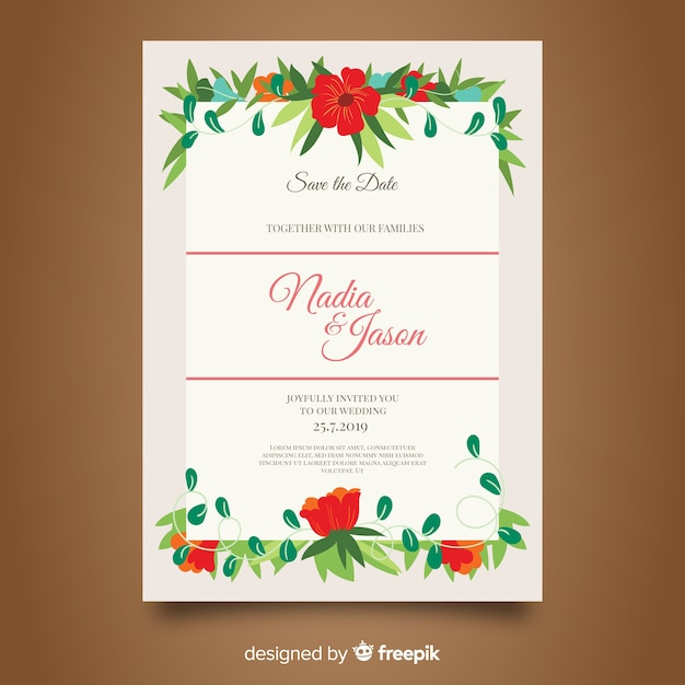Elegant floral wedding invitation template Free Vector