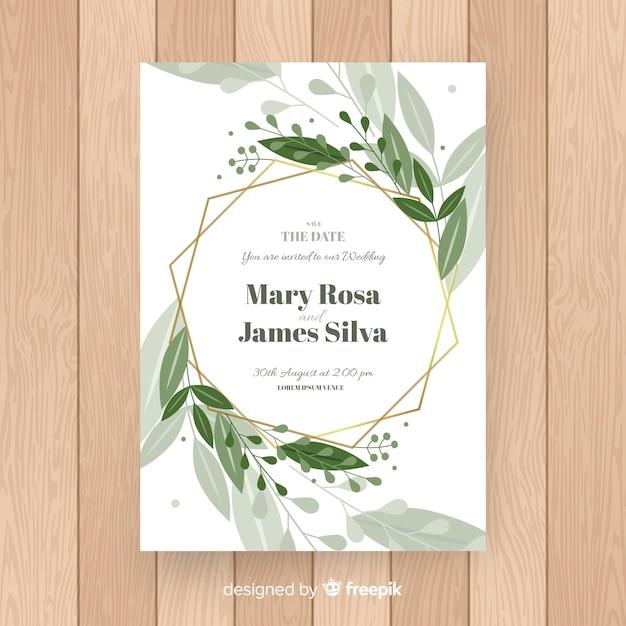 Elegant floral wedding invitation template Free Vector