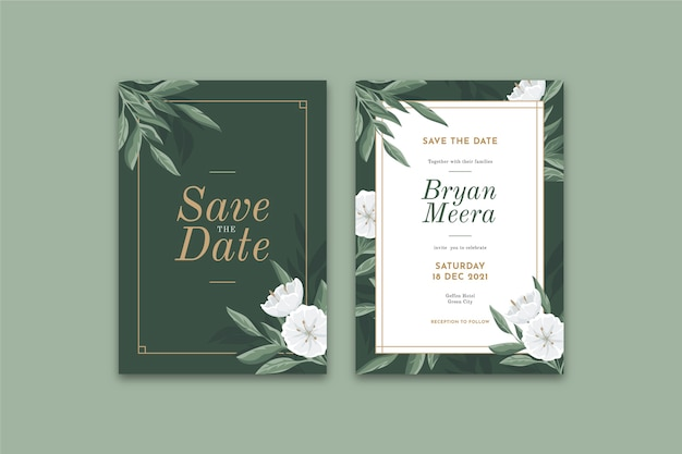 エレガントな花の結婚式の招待状のテンプレート Premiumベクター