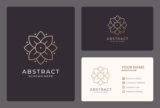 名刺でエレガントな花のロゴのデザイン。 Premiumベクター