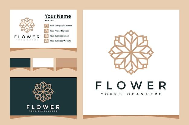 ラインアートスタイルと名刺デザインのエレガントな花のロゴ Premiumベクター