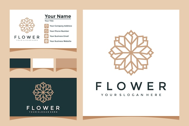 Elegant flower logo with line art style and business card design Premium Vector