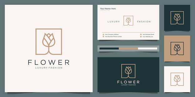 エレガントなフラワーローズの美しさ、ヨガ、スパ。ロゴデザインと名刺 Premiumベクター