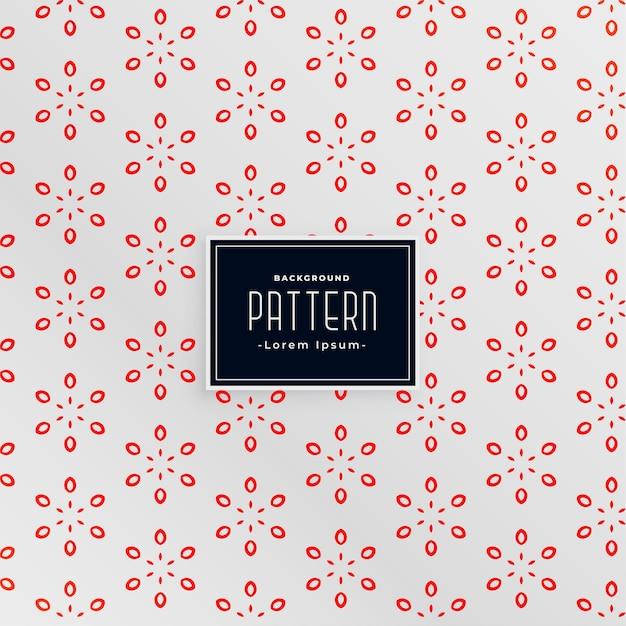 우아한 꽃 스타일 흰색과 빨간색 패턴 디자인 무료 벡터