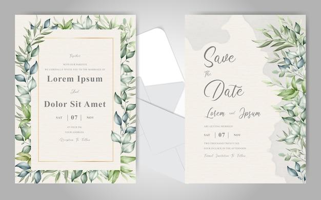 水彩のクリーミーなスプラッシュとエレガントな紅葉の結婚式の招待カードテンプレート Premiumベクター