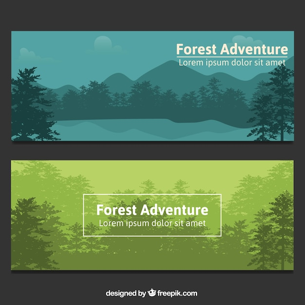 elegant forest banners vector free download
