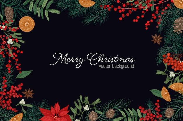 Элегантная рамка или бордюр из ветвей и шишек елей и елей, ягод омелы и листьев, нарисованных вручную на черном пространстве и желании праздника рождества Premium векторы