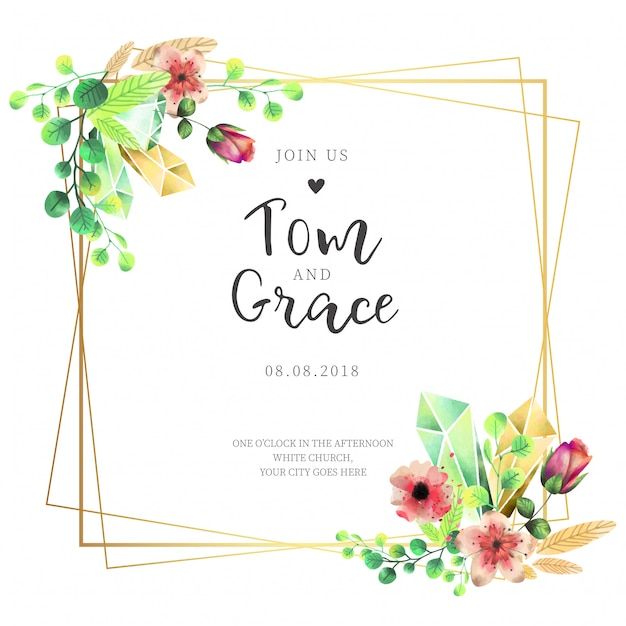 Elegant frame wedding invitation with watercolor flowers Free Vector