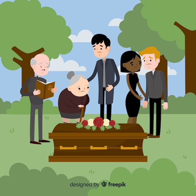 Elegant funeral composition with flat design Free Vector