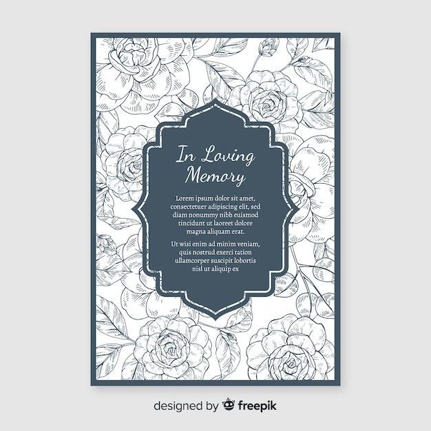 Elegant funeral invitation with floral style Free Vector