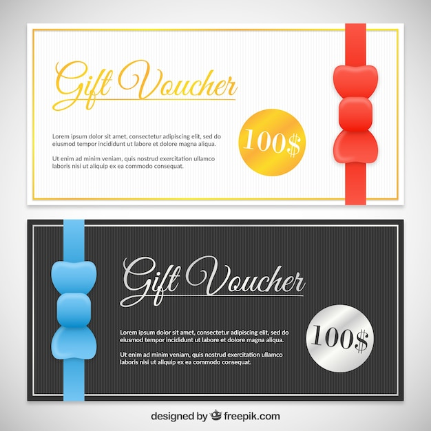 Elegant gift voucher pack Free Vector