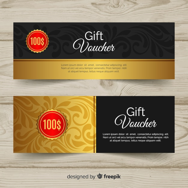 Elegant gift voucher template with golden style Free Vector