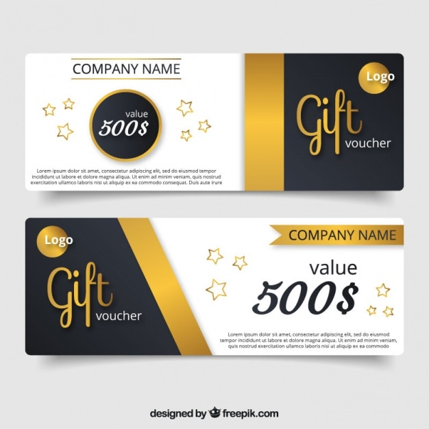 Elegant gift voucher with golden details and stars vector free elegant gift voucher with golden details and stars free vector negle Image collections