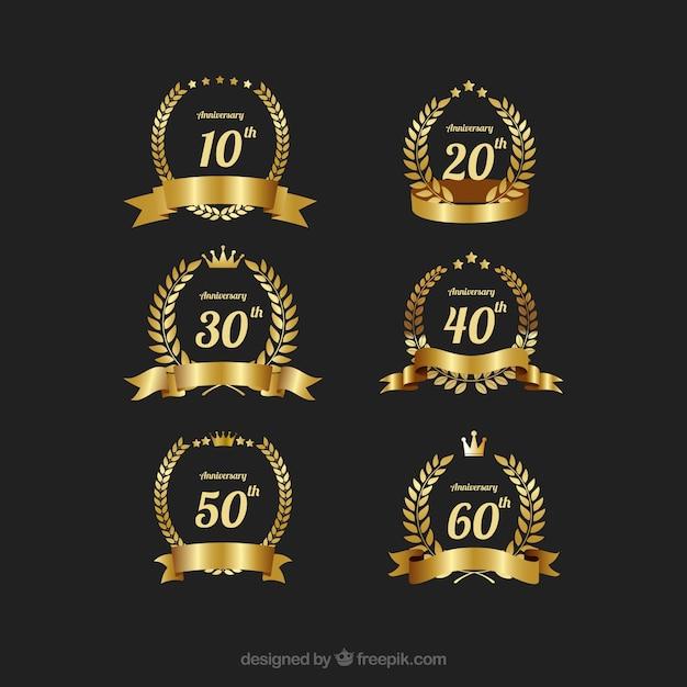 Elegant Gold Anniversary Label Vector Set Vector Free