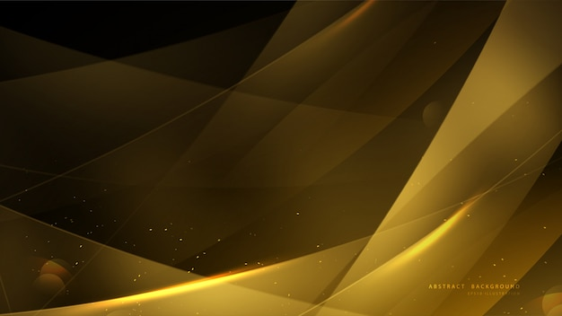 Elegant gold background with bokeh and shiny light. Premium Vector