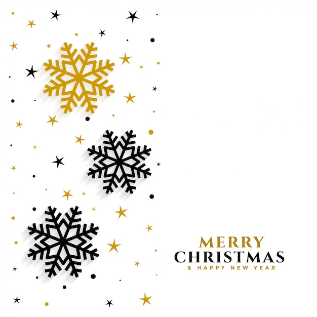 Elegant gold and black snowflakes white Free Vector