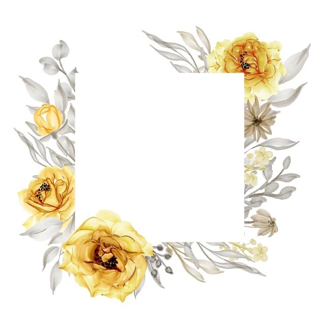 우아한 골드 노란 장미 꽃 프레임 수채화 무료 벡터