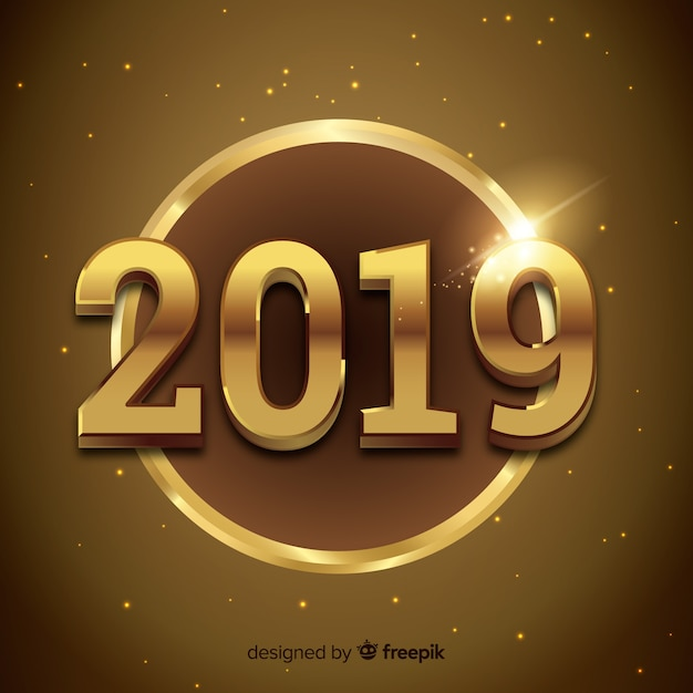 Elegant golden 2019 background Free Vector