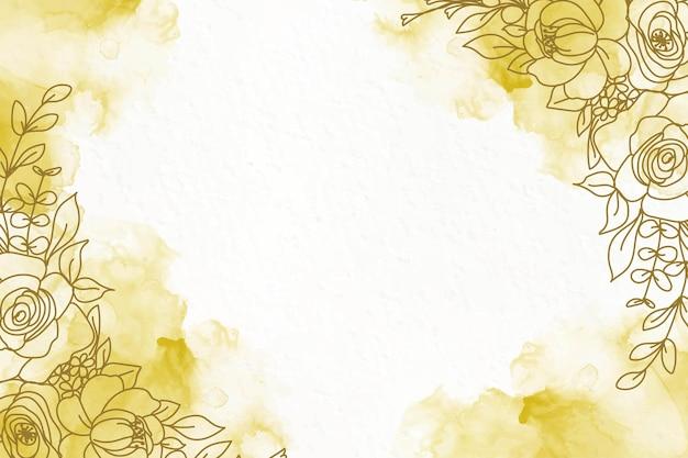 花とエレガントな黄金のアルコールインクの背景 無料ベクター