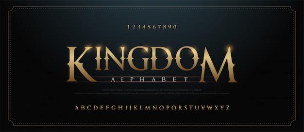 Elegant golden alphabet letters font set. classic custom gold Premium Vector