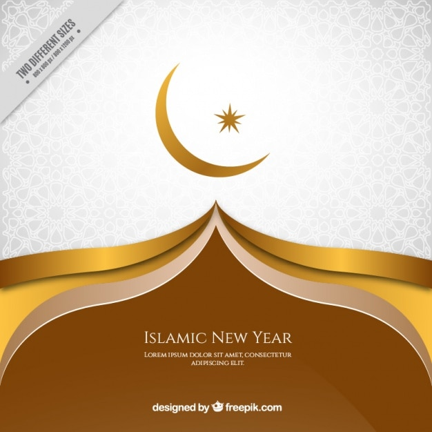elegant golden background of islamic new year free vector