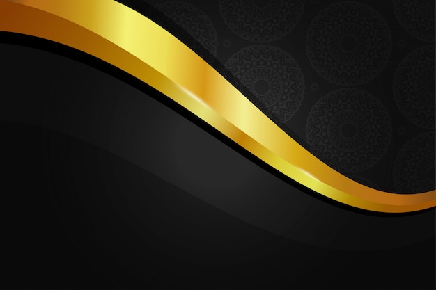 Elegant golden background wallpaper with mandala seamless pattern in black gold color Premium Vector