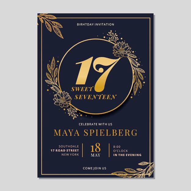 エレガントな黄金の誕生日カードテンプレート Premiumベクター