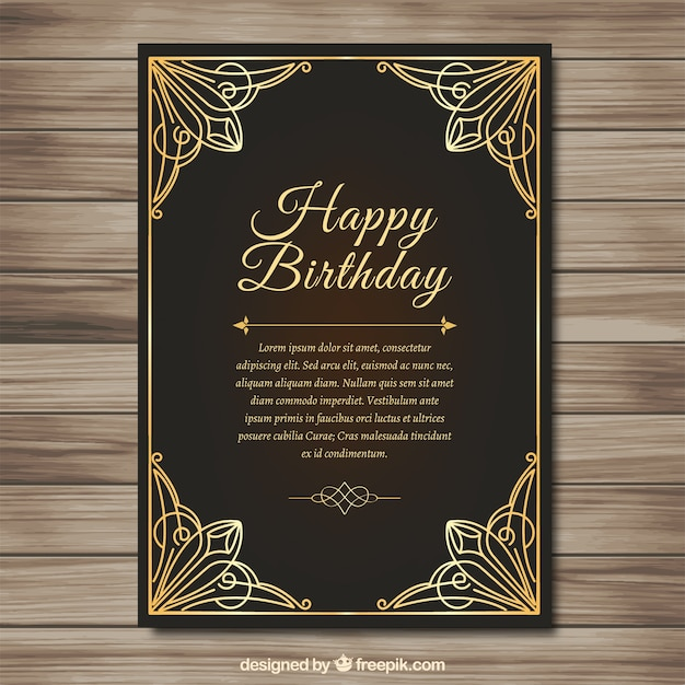 Elegant Golden Birthday Card Vector Free Download