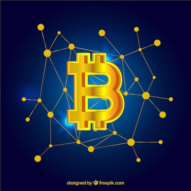 Elegant golden bitcoin design Free Vector