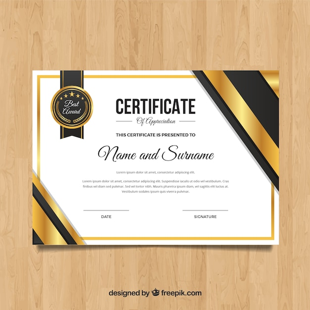 Elegant Marriage Certificate Template Golden Edition: Elegant Golden Certificate Template Vector