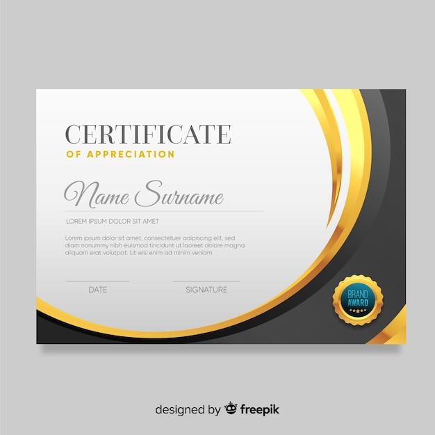 Elegant golden certificate template Free Vector