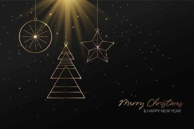 エレガントな黄金のクリスマスの背景 無料ベクター