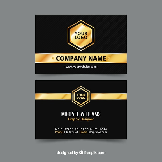 Elegant golden corporate card Free Vector