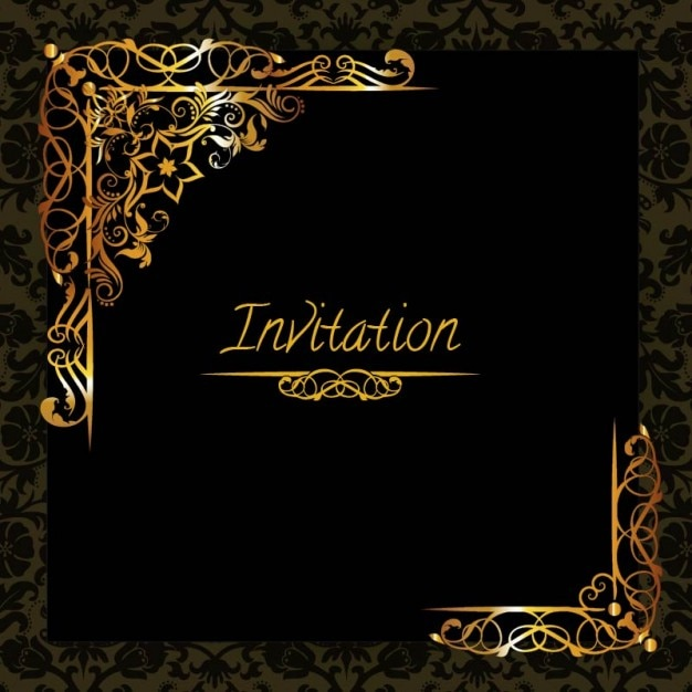 Elegant Golden Design Invitation Template Vector Free Download - Party invitation template: elegant christmas party invitation template
