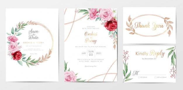 Elegant golden flowers wedding invitation cards template set Premium Vector