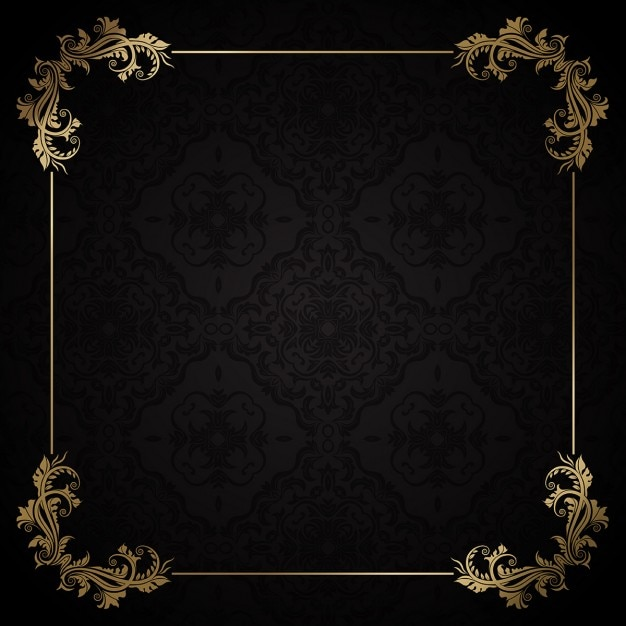 elegant golden frame on a black background vector free