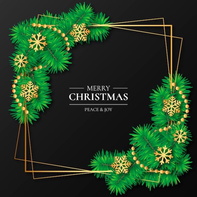 Elegant golden frame with christmas decoration Free Vector