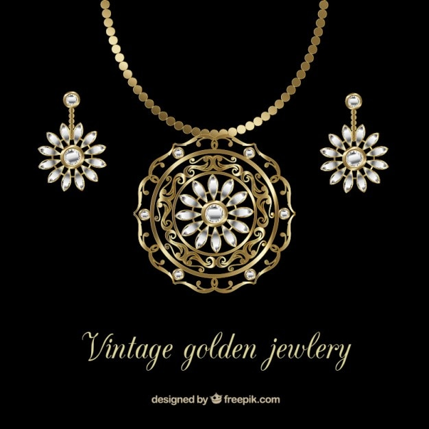 Elegant and golden necklace with earrings Free Vector