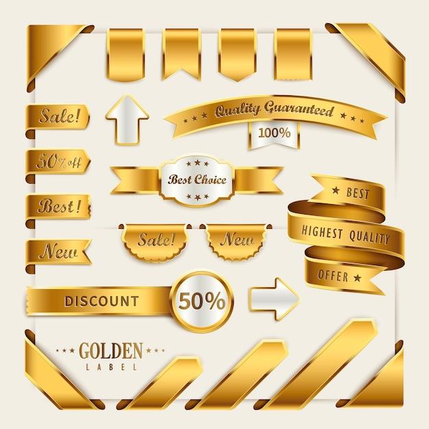 小売用のエレガントなゴールデンリボンラベルコレクションセット Premiumベクター