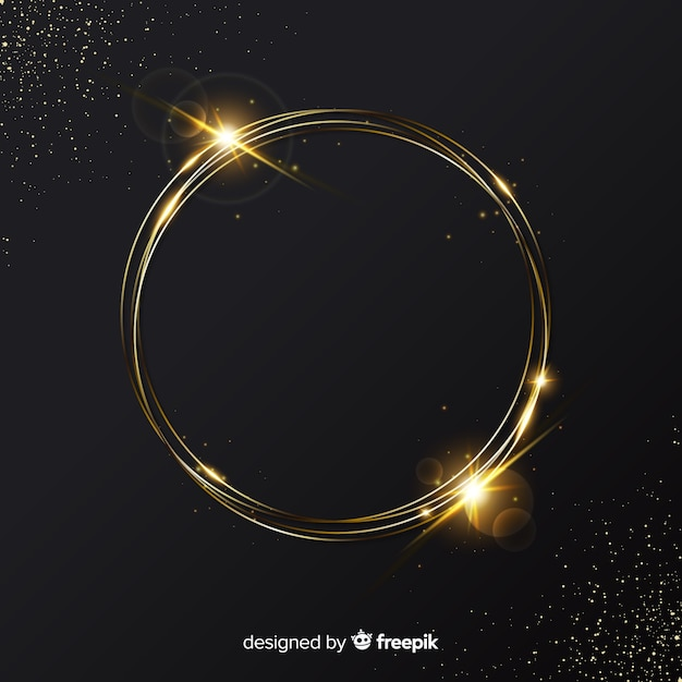 Elegant golden sparkling frame background Free Vector