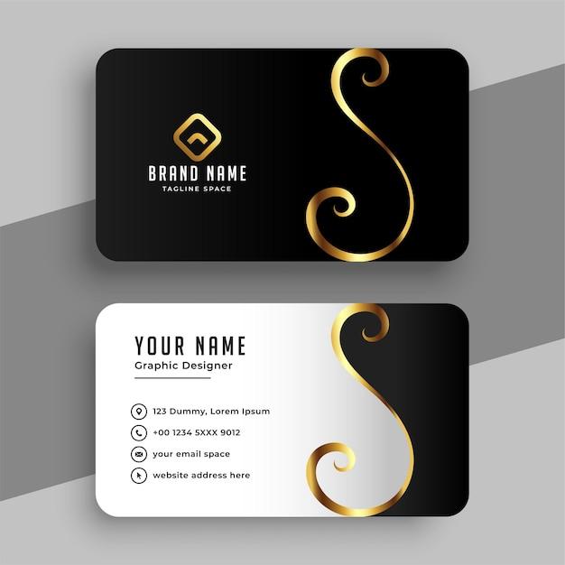 Elegant golden swirl business card template Free Vector