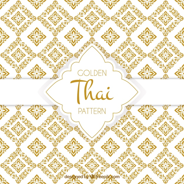 Elegant golden thai pattern Free Vector