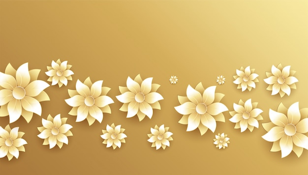 Elegant golden and white flowers decoration background Free Vector