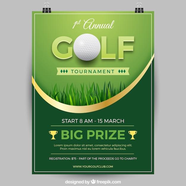 Elegant golf tournament poster Free Vector