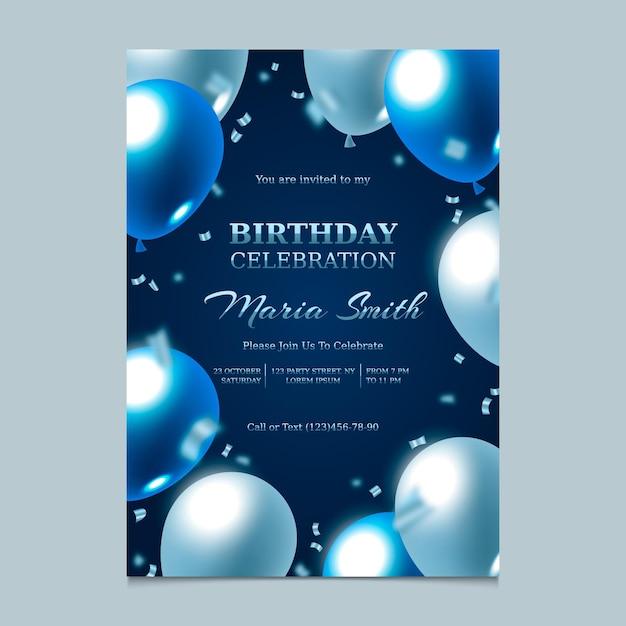 Элегантное градиентное приглашение на день рождения Бесплатные векторы