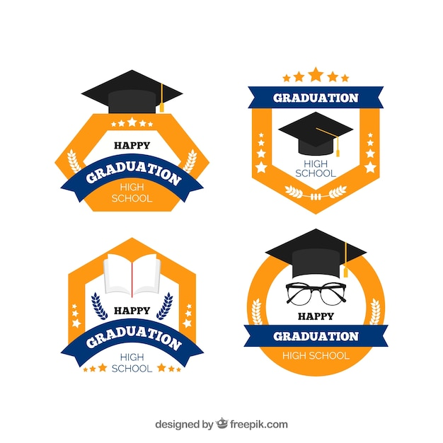 Elegant graduation badge collection with flat design Free Vector