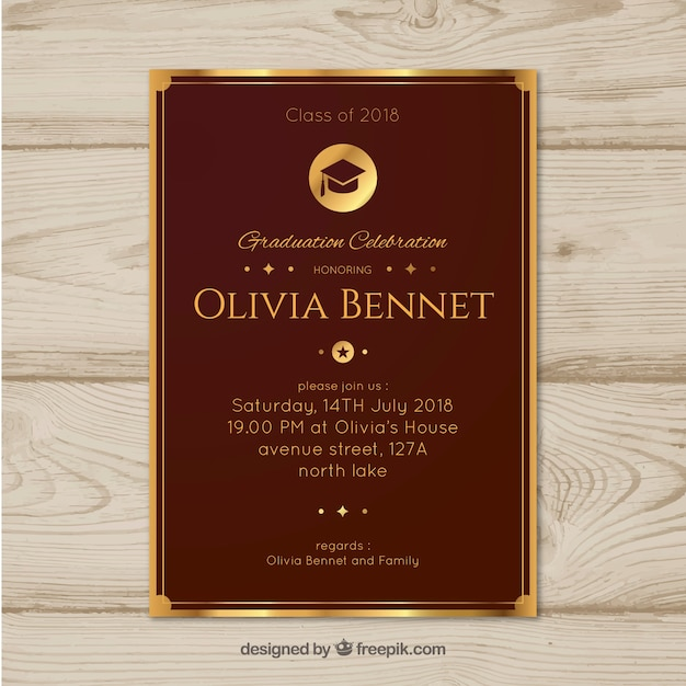 Elegant Graduation Invitation Template Flat Design Free Vector