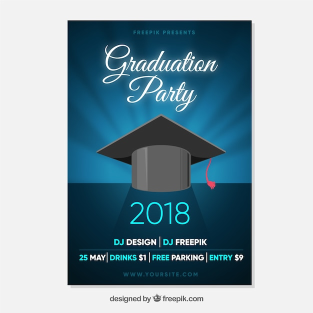 Elegant Graduation Invitation Template Flat Design Vector